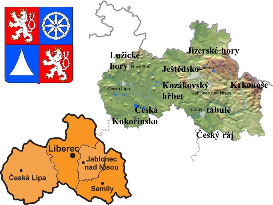 Jizerské hory Lužické hory. Ještědsko- Kozákovský hřbet. Krkonoše. Česká tabule.