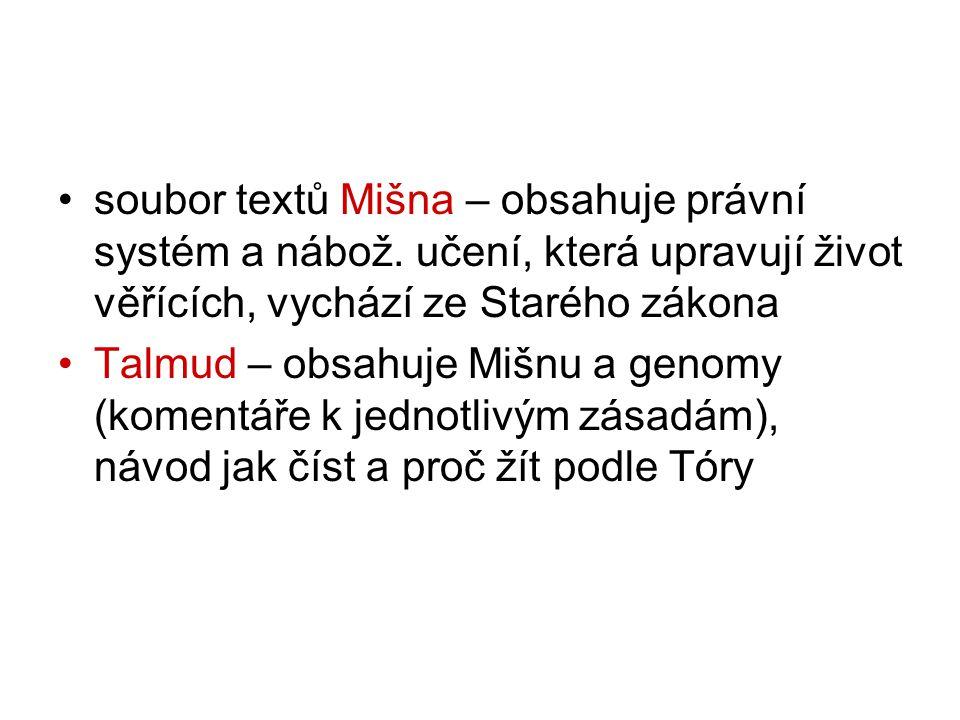 soubor textů Mišna – obsahuje právní systém a nábož