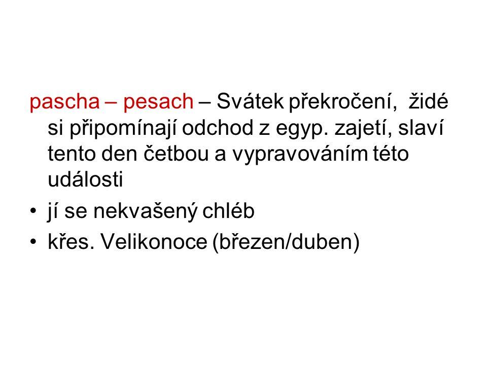 pascha – pesach – Svátek překročení, židé si připomínají odchod z egyp