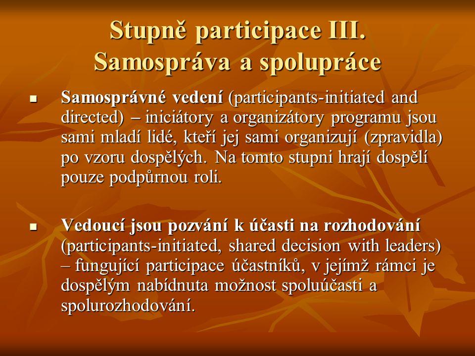 Stupně participace III. Samospráva a spolupráce