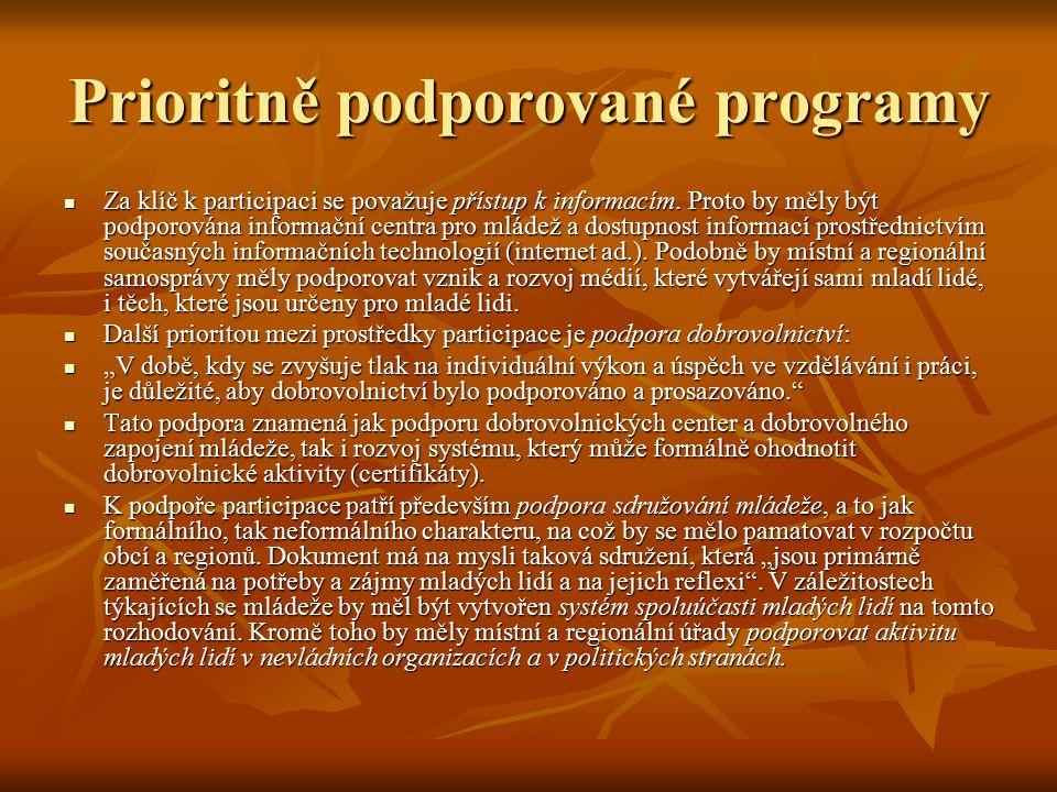 Prioritně podporované programy