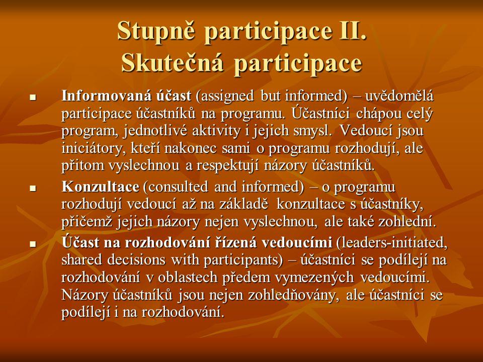 Stupně participace II. Skutečná participace