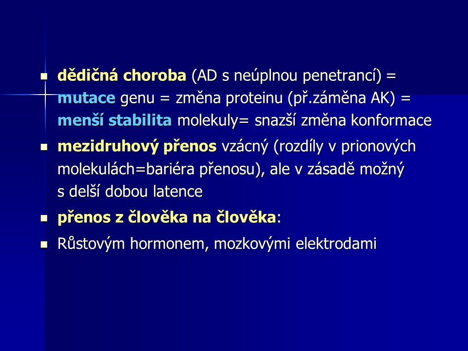 dědičná choroba (AD s neúplnou penetrancí) = mutace genu = změna proteinu (př.záměna AK) = menší stabilita molekuly= snazší změna konformace