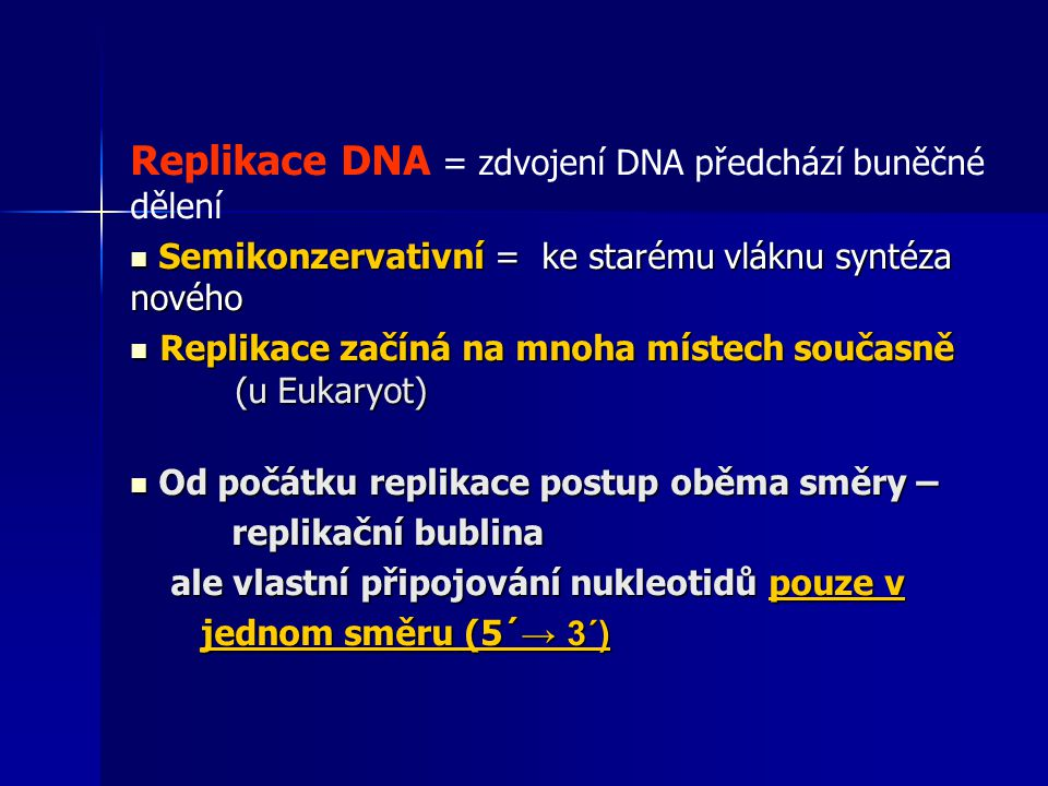 Replikace DNA = zdvojení DNA předchází buněčné dělení