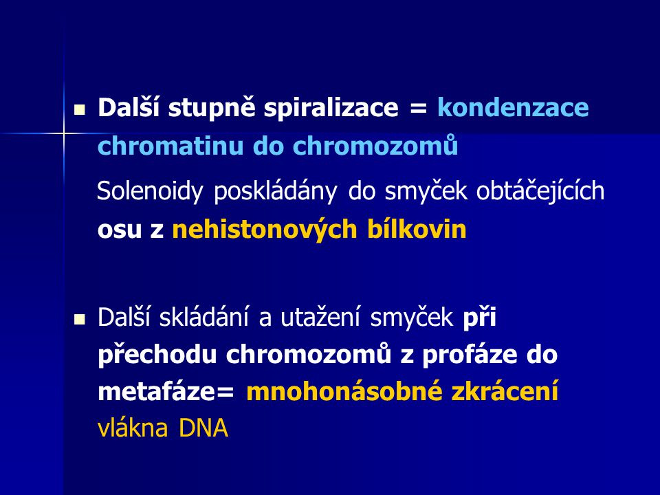 Další stupně spiralizace = kondenzace chromatinu do chromozomů