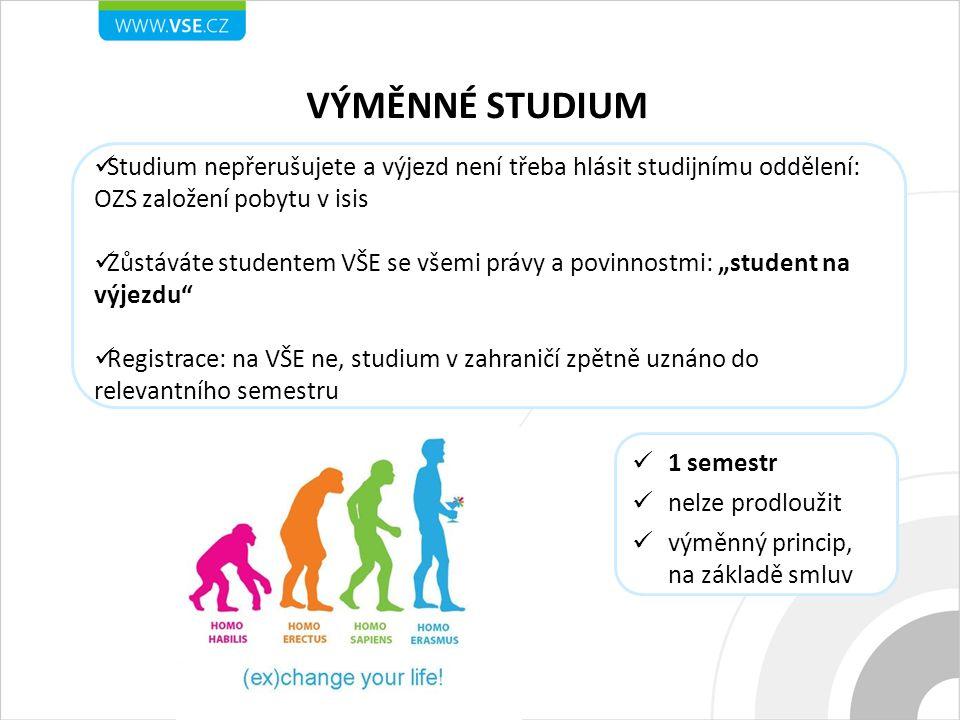 VÝMĚNNÉ STUDIUM Studium nepřerušujete a výjezd není třeba hlásit studijnímu oddělení: OZS založení pobytu v isis.