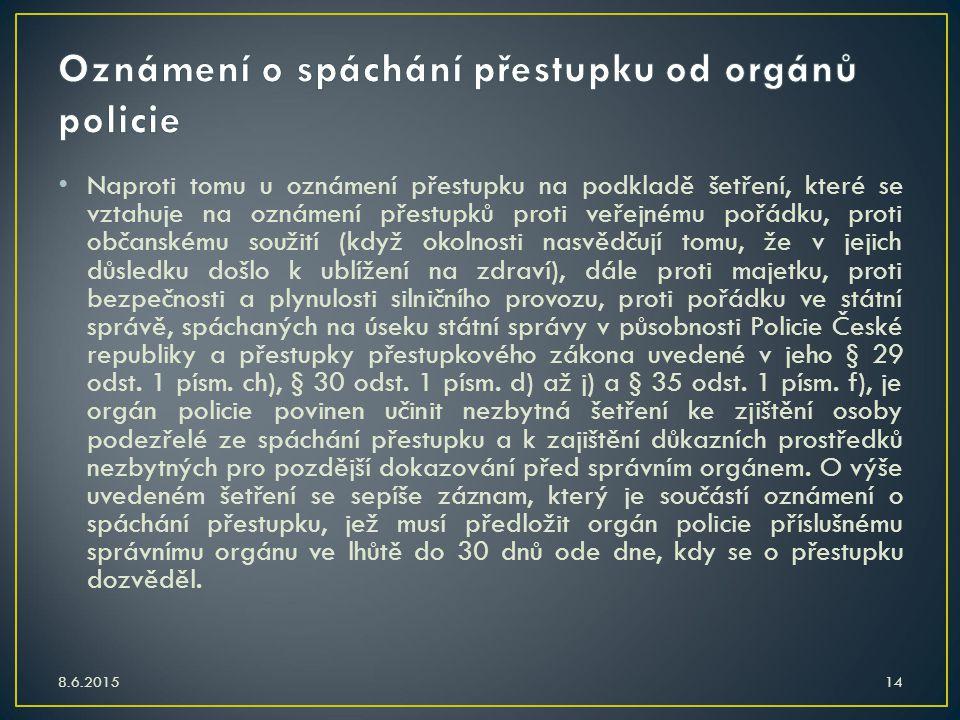 Oznámení o spáchání přestupku od orgánů policie