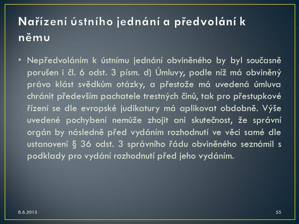 Nařízení ústního jednání a předvolání k němu