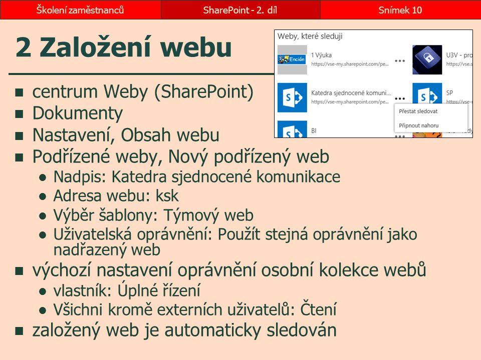 2 Založení webu centrum Weby (SharePoint) Dokumenty