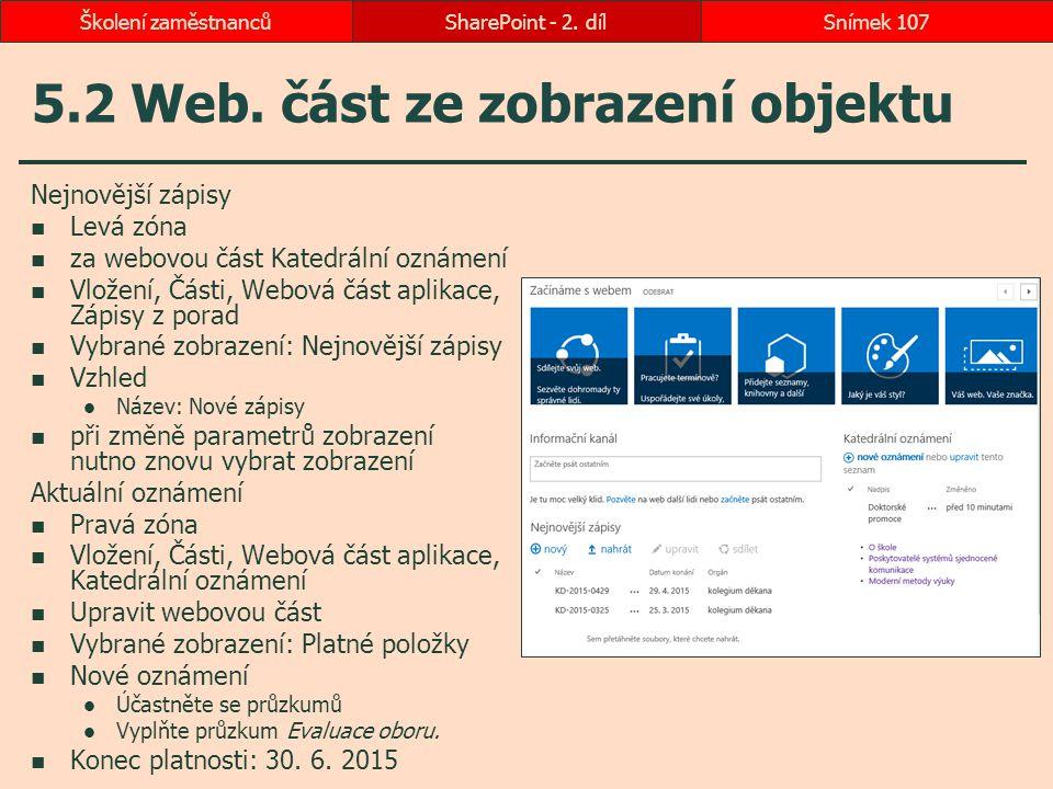 5.2 Web. část ze zobrazení objektu