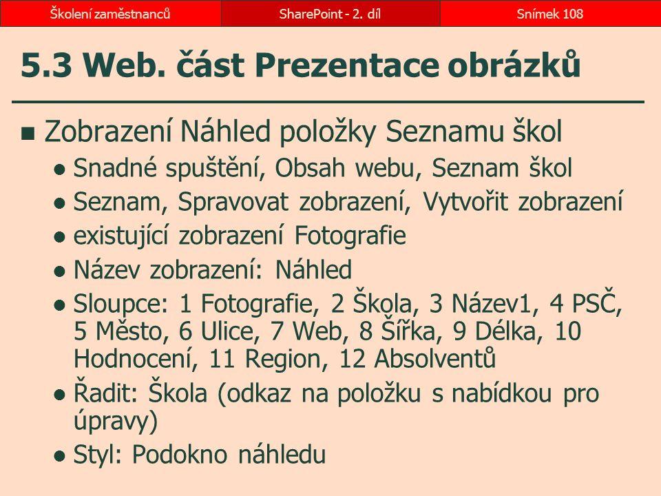 5.3 Web. část Prezentace obrázků