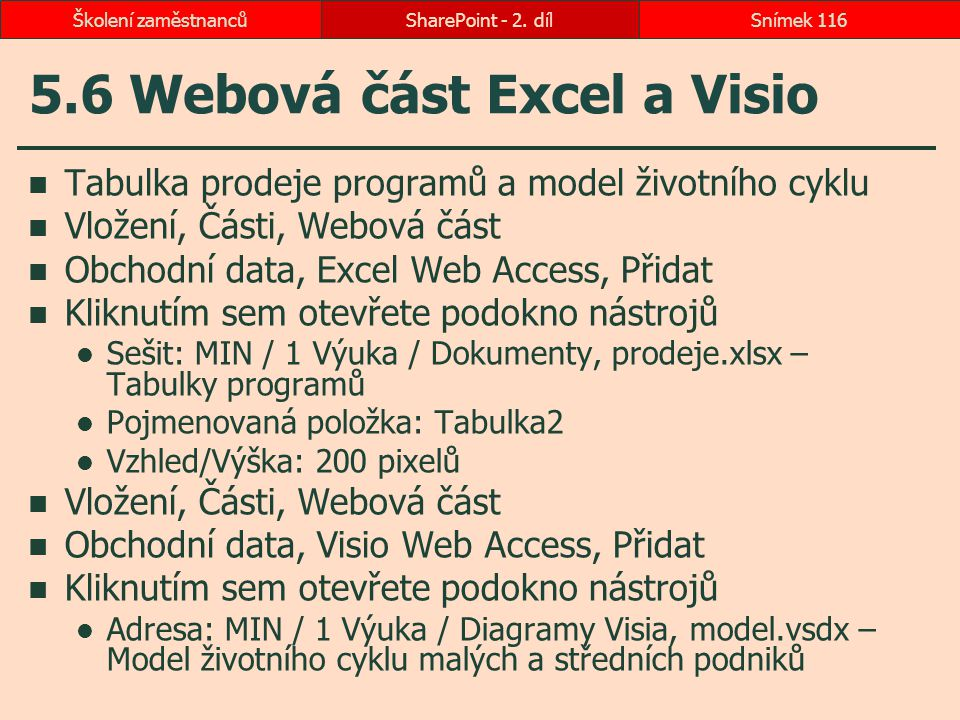 5.6 Webová část Excel a Visio