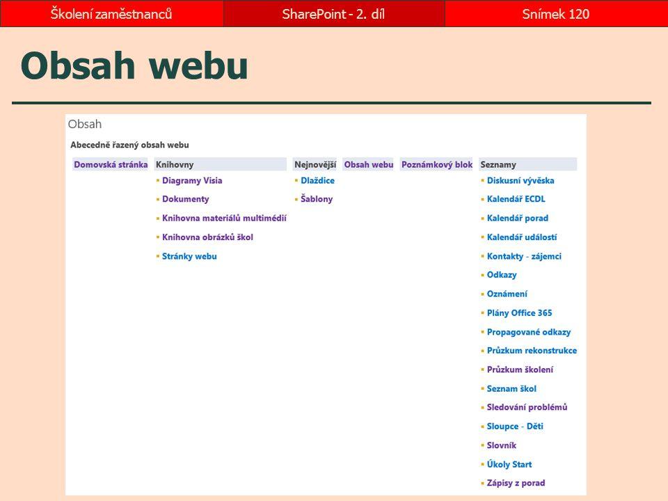 Školení zaměstnanců SharePoint - 2. díl Obsah webu