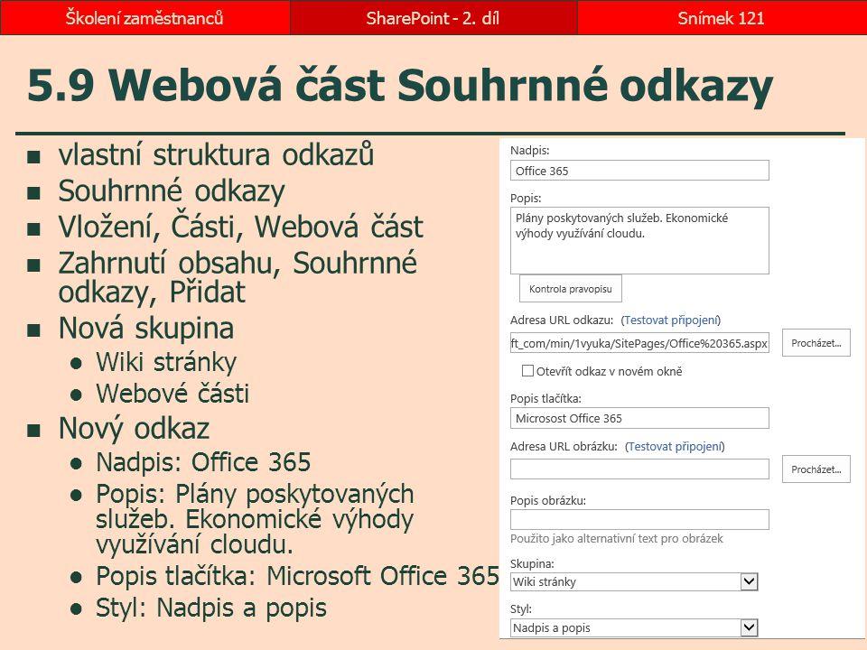 5.9 Webová část Souhrnné odkazy