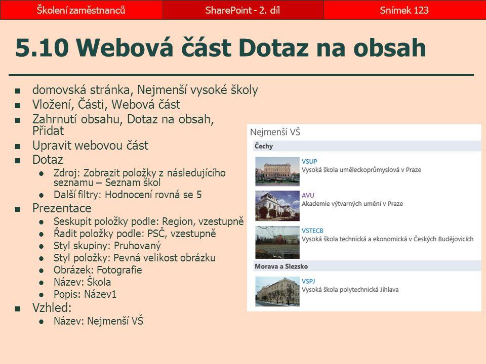 5.10 Webová část Dotaz na obsah
