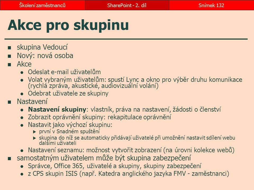 Akce pro skupinu skupina Vedoucí Nový: nová osoba Akce Nastavení