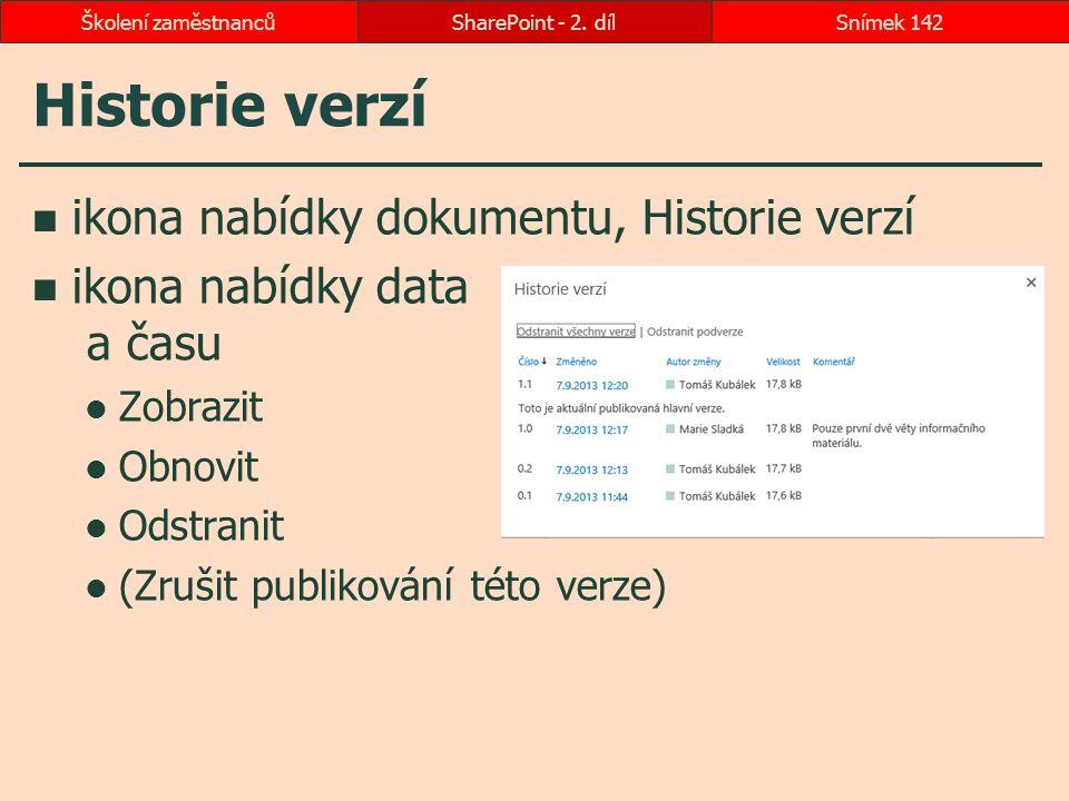 Historie verzí ikona nabídky dokumentu, Historie verzí