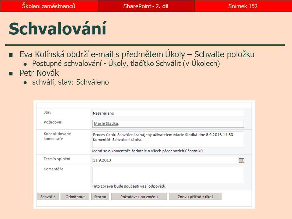 Školení zaměstnanců SharePoint - 2. díl. Schvalování. Eva Kolínská obdrží e-mail s předmětem Úkoly – Schvalte položku.