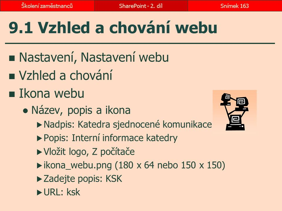 9.1 Vzhled a chování webu Nastavení, Nastavení webu Vzhled a chování