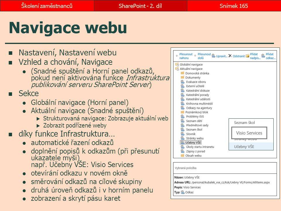 Navigace webu Nastavení, Nastavení webu Vzhled a chování, Navigace