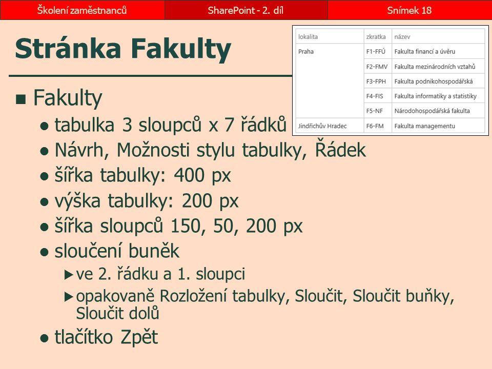 Stránka Fakulty Fakulty tabulka 3 sloupců x 7 řádků