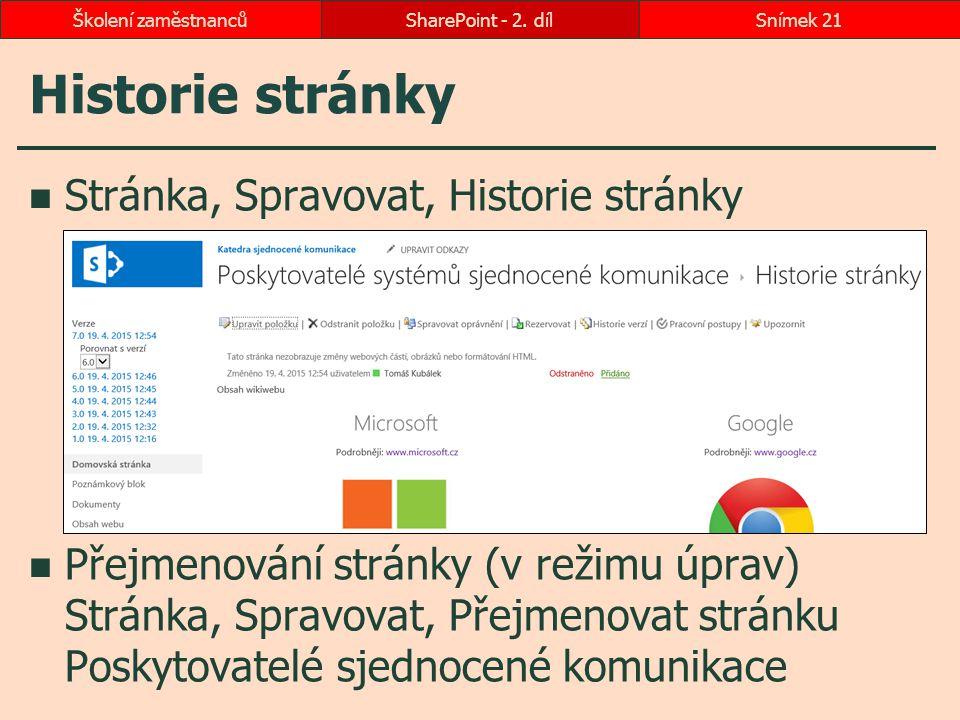 Historie stránky Stránka, Spravovat, Historie stránky