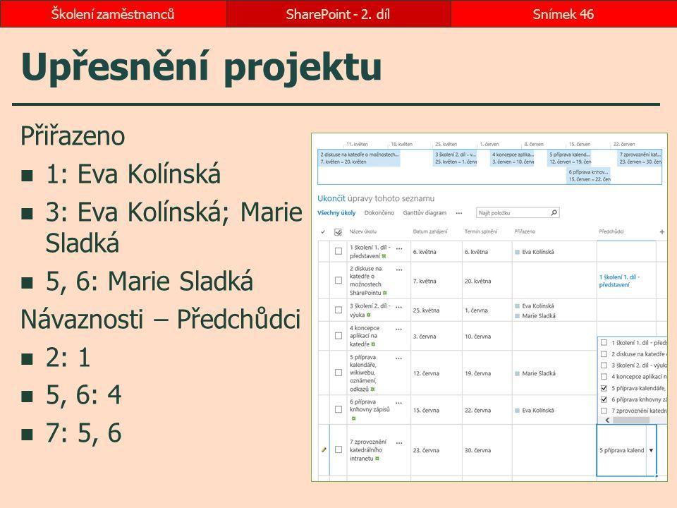 Upřesnění projektu Přiřazeno 1: Eva Kolínská