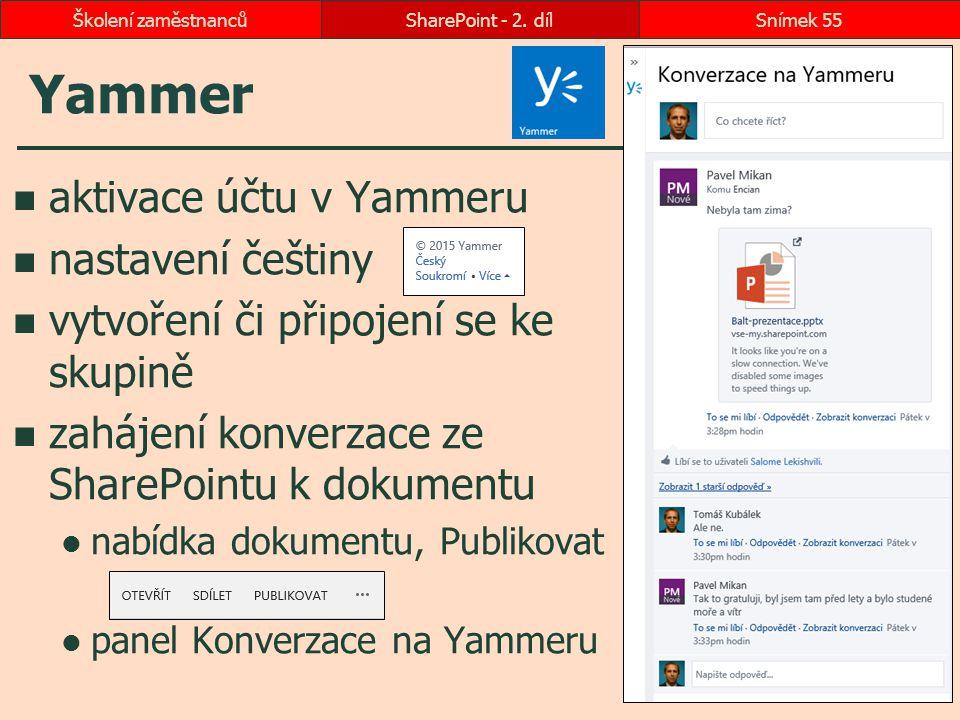 Yammer aktivace účtu v Yammeru nastavení češtiny