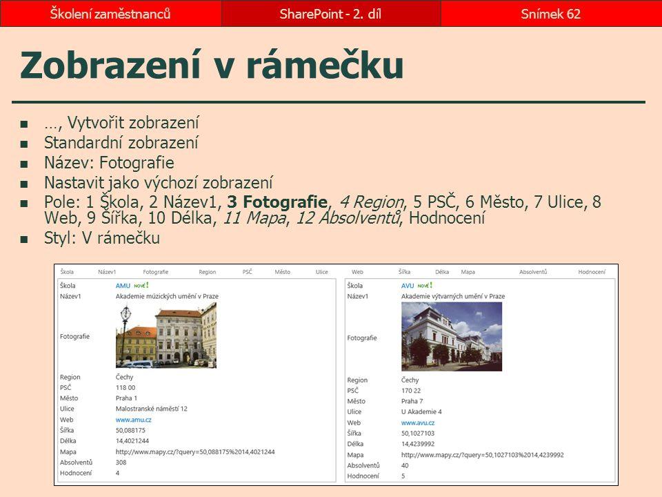 Zobrazení v rámečku …, Vytvořit zobrazení Standardní zobrazení