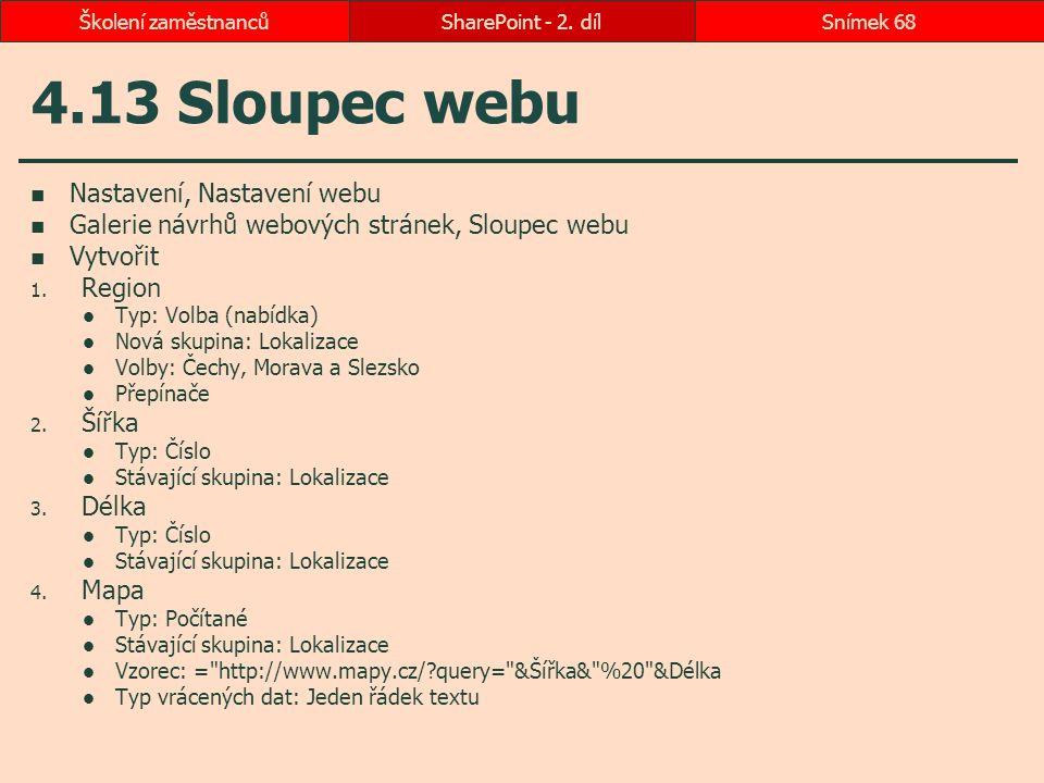 4.13 Sloupec webu Nastavení, Nastavení webu