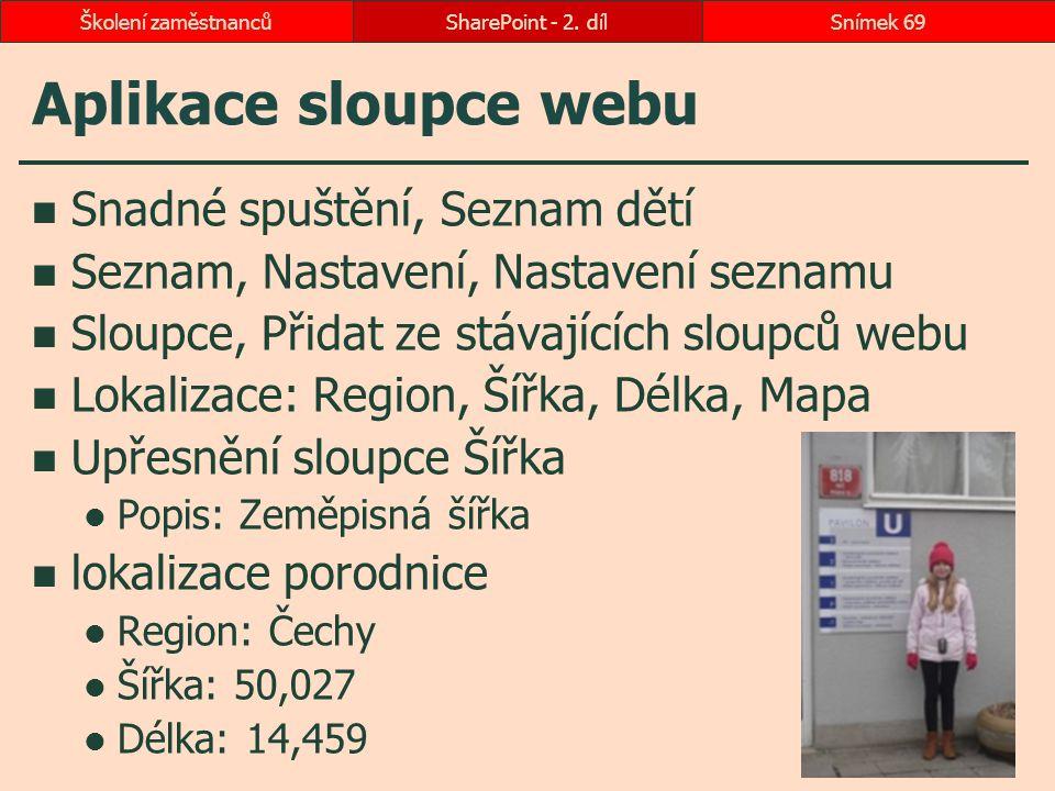 Aplikace sloupce webu Snadné spuštění, Seznam dětí