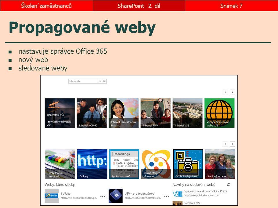 Propagované weby nastavuje správce Office 365 nový web sledované weby