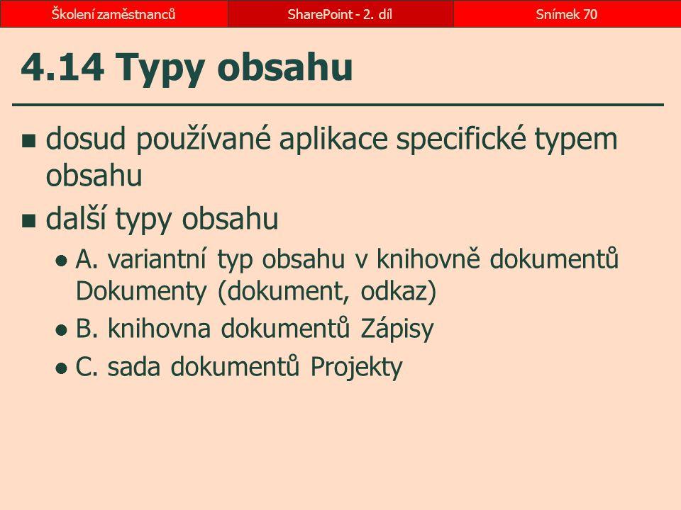 4.14 Typy obsahu dosud používané aplikace specifické typem obsahu