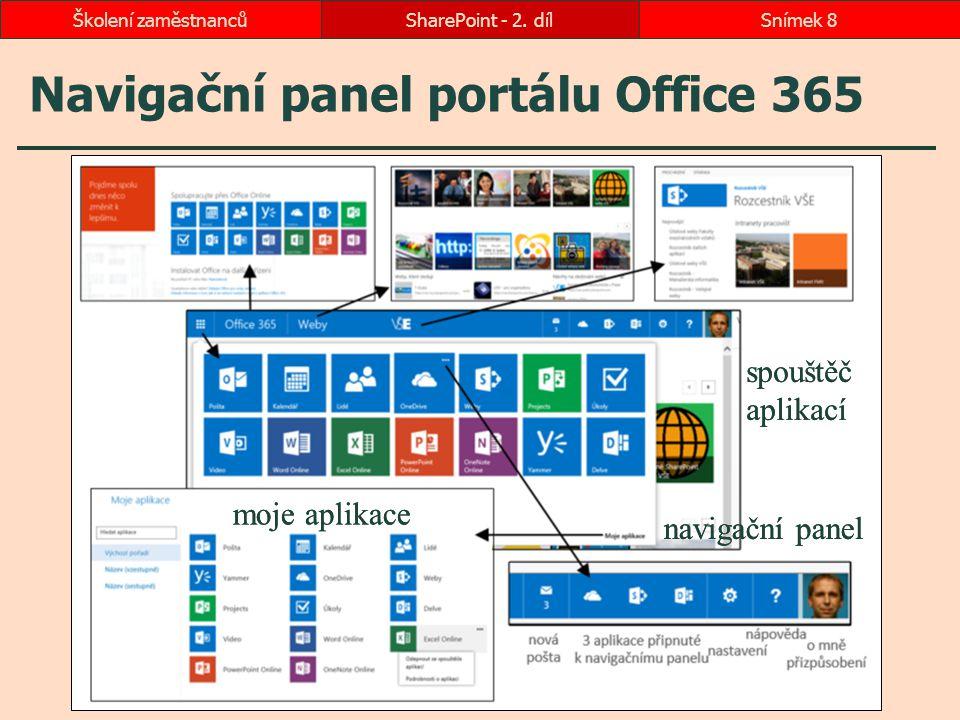 Navigační panel portálu Office 365