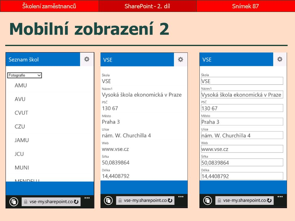 Školení zaměstnanců SharePoint - 2. díl Mobilní zobrazení 2