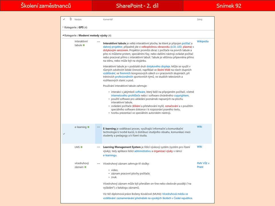 SharePoint - 2. díl Školení zaměstnanců
