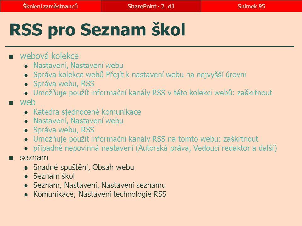 RSS pro Seznam škol webová kolekce web seznam
