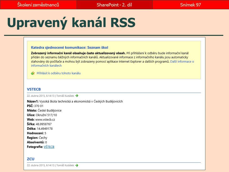 Školení zaměstnanců SharePoint - 2. díl Upravený kanál RSS