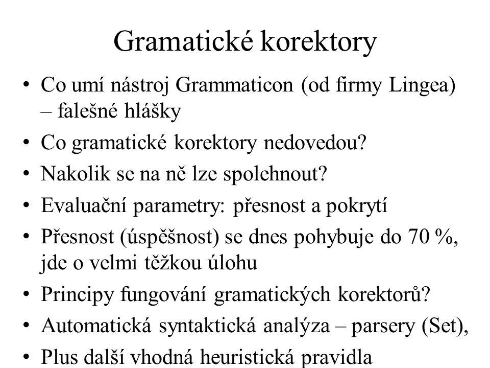 Gramatické korektory Co umí nástroj Grammaticon (od firmy Lingea) – falešné hlášky. Co gramatické korektory nedovedou