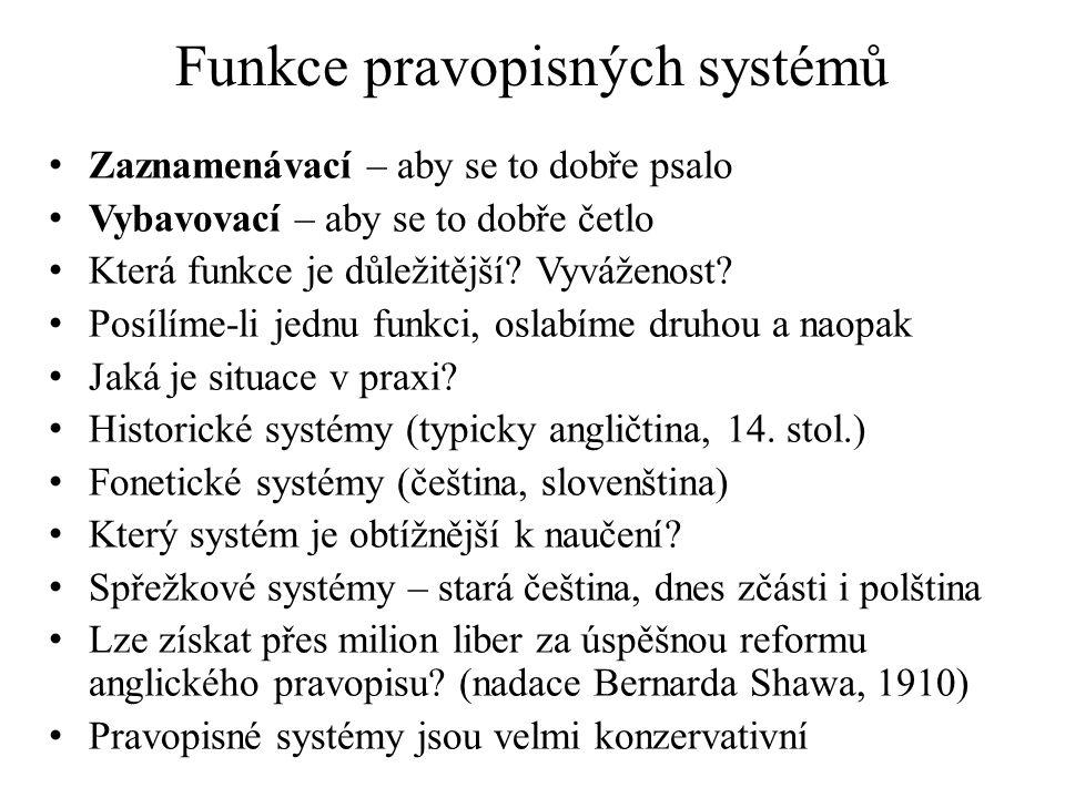 Funkce pravopisných systémů