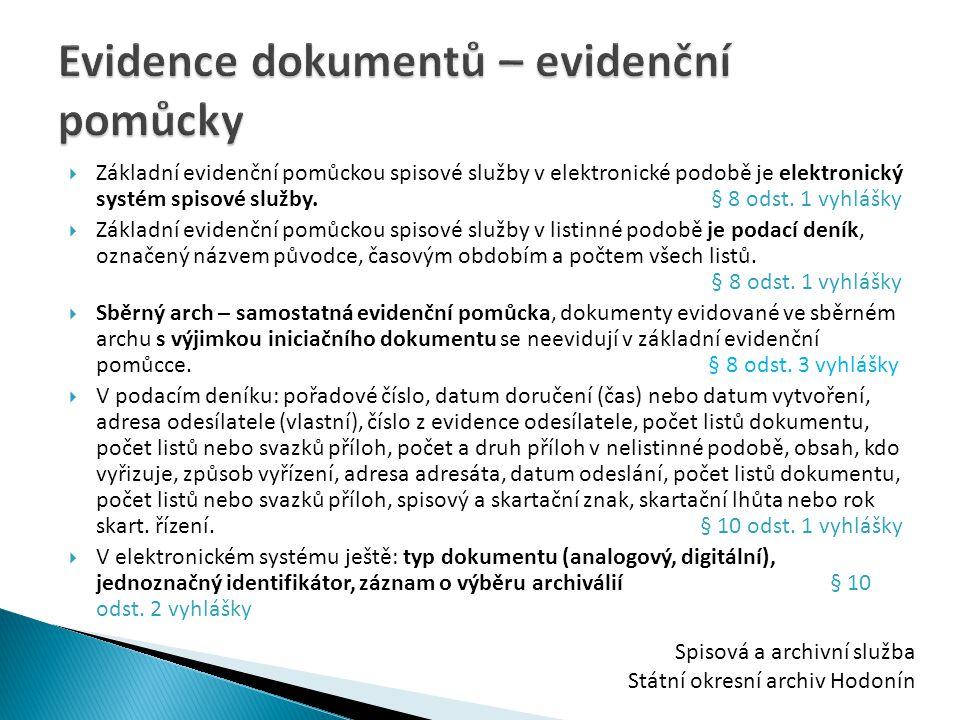 Evidence dokumentů – evidenční pomůcky
