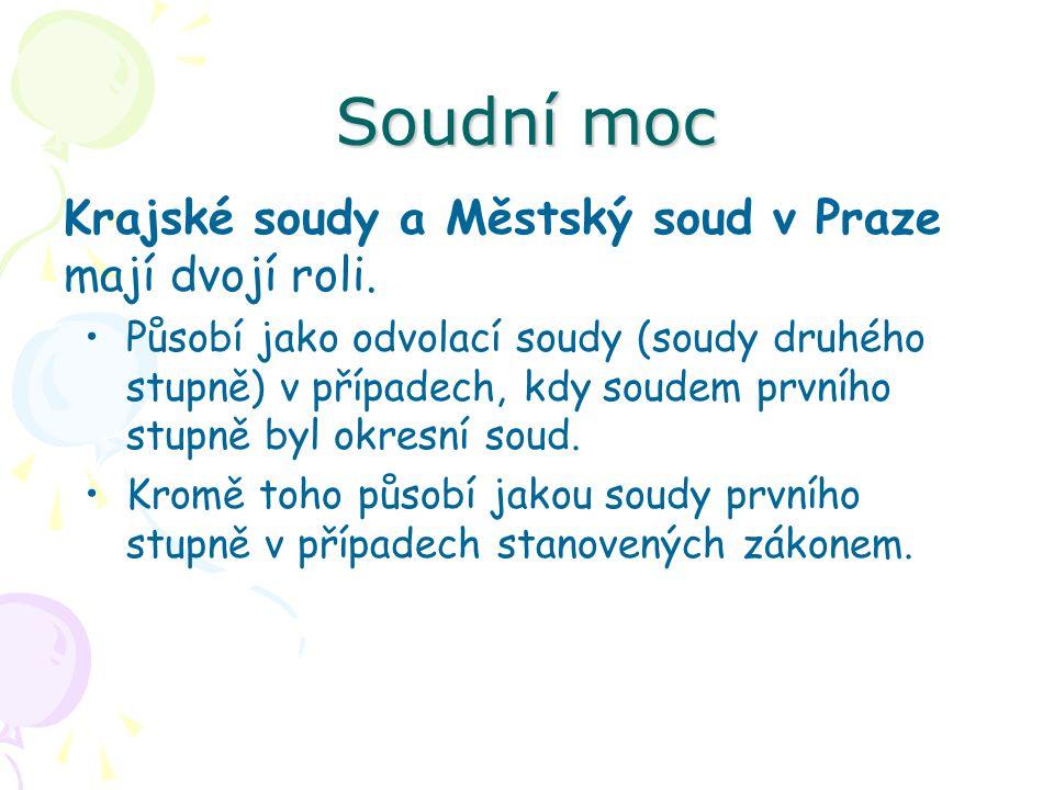 Soudní moc Krajské soudy a Městský soud v Praze mají dvojí roli.