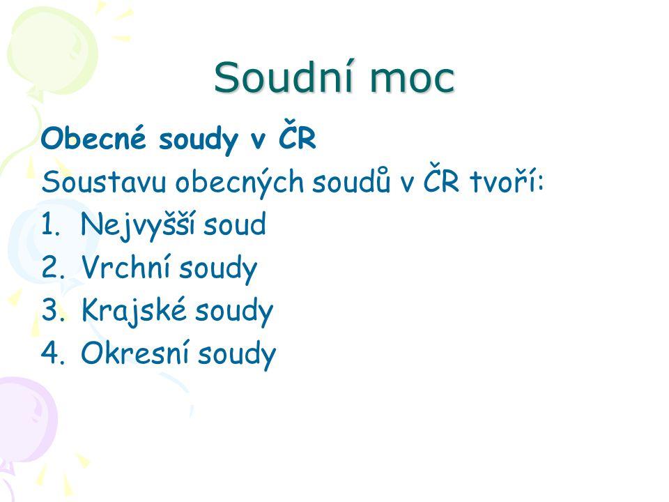 Soudní moc Obecné soudy v ČR Soustavu obecných soudů v ČR tvoří: