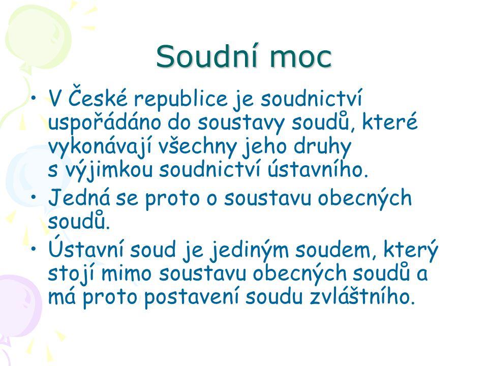 Soudní moc V České republice je soudnictví uspořádáno do soustavy soudů, které vykonávají všechny jeho druhy s výjimkou soudnictví ústavního.