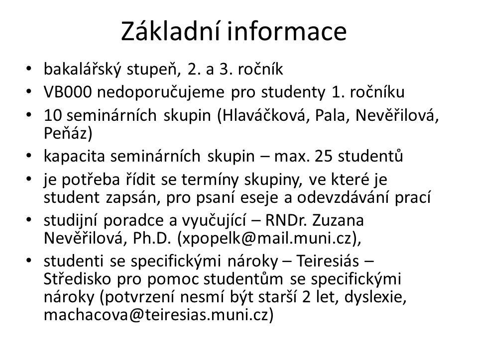 Základní informace bakalářský stupeň, 2. a 3. ročník