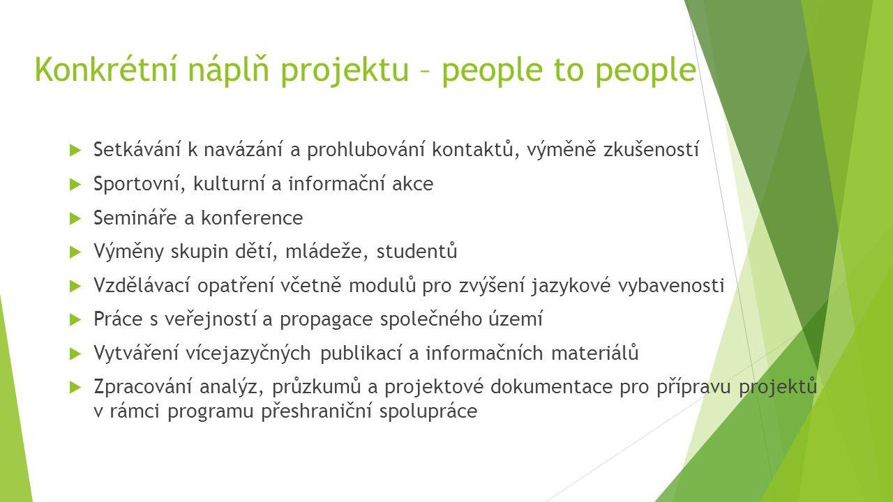 Konkrétní náplň projektu – people to people