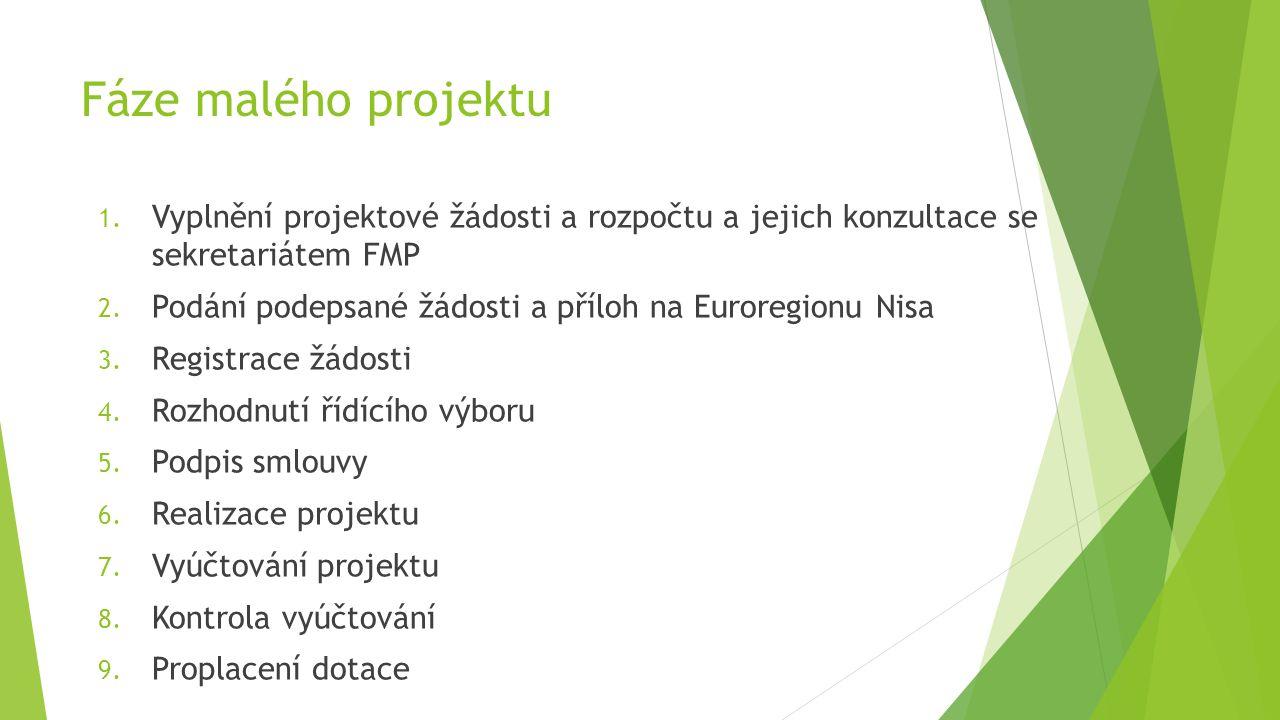 Fáze malého projektu Vyplnění projektové žádosti a rozpočtu a jejich konzultace se sekretariátem FMP.