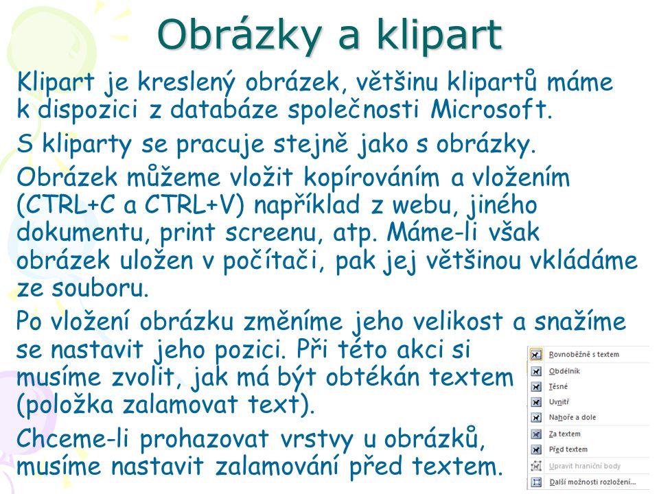 Obrázky a klipart Klipart je kreslený obrázek, většinu klipartů máme k dispozici z databáze společnosti Microsoft.