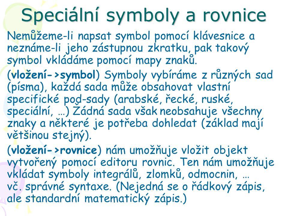 Speciální symboly a rovnice