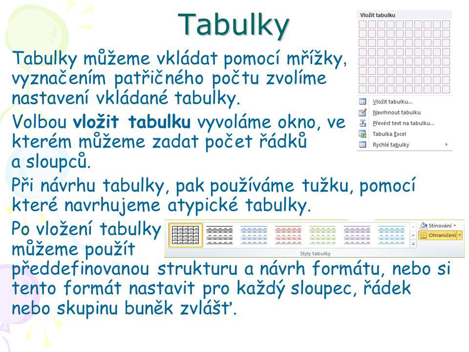Tabulky Tabulky můžeme vkládat pomocí mřížky, vyznačením patřičného počtu zvolíme nastavení vkládané tabulky.